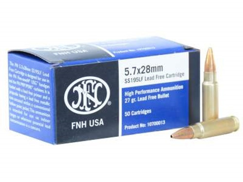 FNH USA 5.7x28mm Ammunition SS195LF 27 gr Lead Free Jacketed Hollow Point 50 rounds
