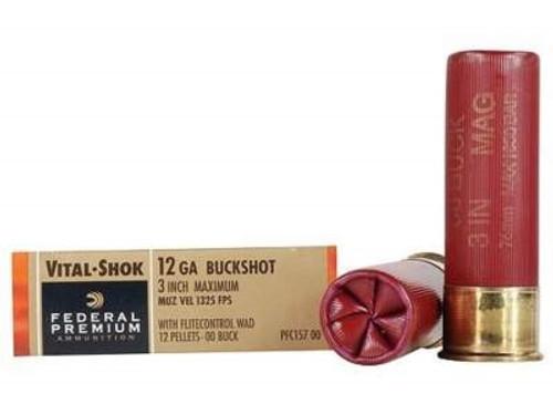 """Federal 12 Gauge Ammunition Vital-Shok PFC15700 3"""" Buffered 00 Copper Plated Shot 12 Pellets 1325fps 5 rounds"""