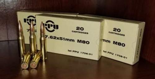 Prvi PPU 7.62x51mm NATO Ammunition M80 PPN762 145 Grain Full Metal Jacket 20 Rounds