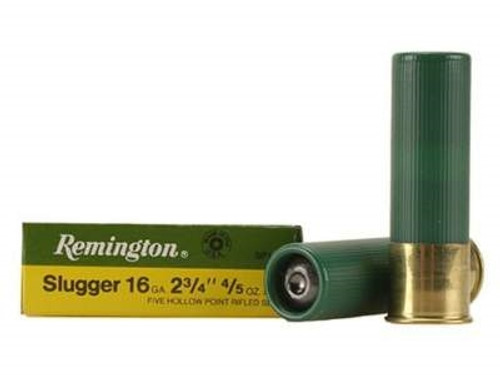 "Remington 16 Gauge 2-3/4"" SP16RS Slugger 4/5 oz 1600fps Rifled Slug 5 rounds"