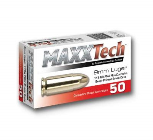 Maxxtech 9mm Ammunition PTGB9MMB 115 Grain Full Metal Jacket Case of 1000 Rounds