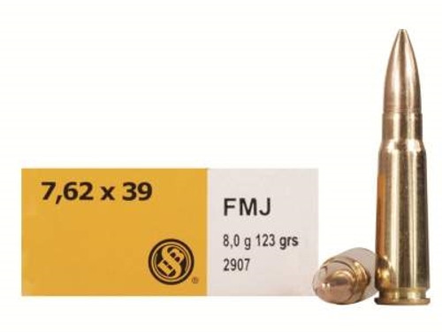 Sellier & Bellot 7.62x39mm Ammunition SB76239A 124 Grain Full Metal Jacket 20 Rounds
