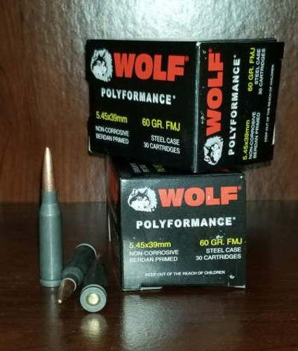 Wolf 5.45x39mm Ammunition 60 Grain Full Metal Jacket CASE 750 rounds