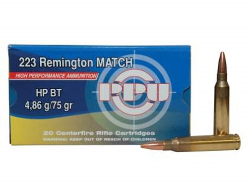 Prvi PPU 223 Rem Match Ammunition PP54 75 Grain Boat Tail Hollow Point 20 Rounds