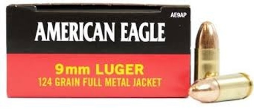 Federal 9mm Ammunition American Eagle AE9AP 124 Grain Full Metal Jacket 50 Rounds