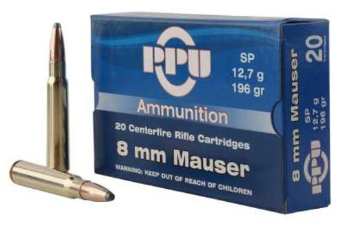 Prvi PPU 8mm Mauser Ammunition PP8S 196 Grain Soft Point 20 Rounds