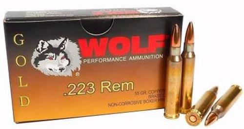Wolf 223 Rem Ammunition Gold 55 Grain Full Metal Jacket 20 Rounds