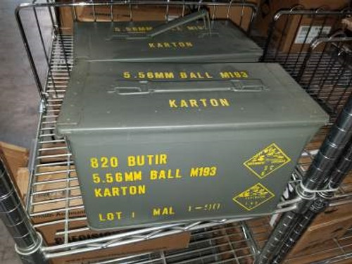 Malaysian 5.56x45mm NATO Ammunition Surplus M193 55 Grain Full Metal Jacket in Ammo Can 820 rounds