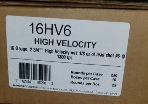 "Fiocchi 16 Gauge Ammunition FI16HV6 High Velocity 2-3/4"" #6 1-1/8oz 1300 fps 250 Rounds"