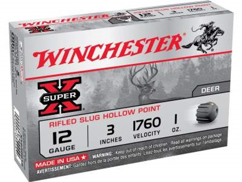 "Winchester 12 Gauge Ammunition Super-X X123RS15 3"" Rifled Slug 1oz 1760fps 5 rounds"