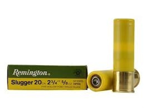 "Remington 20 Gauge Slugger 2 3/4"" 5/8 oz 1580fps Rifled Slugs SP20RS 5 rounds"