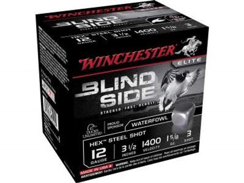 "Winchester 12 GA Blind Side SBS12L3 Ammunition 3-1/2"" 1-5/8 oz #3 1400fps Non-Toxic Steel Shot 250 rounds"