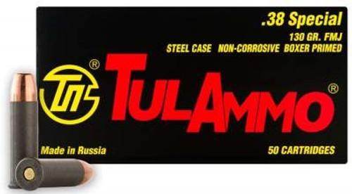 Tula 38 Special Ammunition TA038158 130 Grain Full Metal Jacket Case of 1000 Rounds