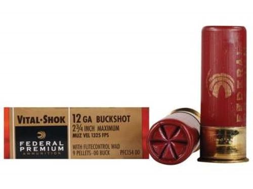 """Federal 12 Gauge Ammunition Vital-Shok PFC15400 2-3/4"""" Buffered 00 Copper Plated Shot 9 Pellets 1325fps 5 rounds"""