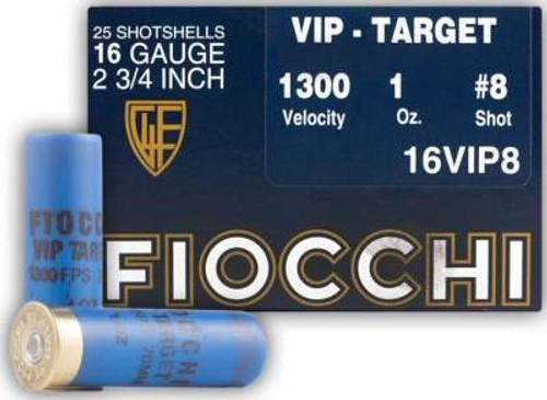 """Fiocchi 16 Gauge Ammunition FI16VIP8 2-3/4"""" 1300FPS 1oz #8 CASE 250 rounds"""