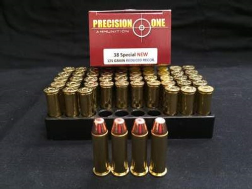 Precision One 38 Special Ammunition Reduced Recoil 125 Grain Full Metal Jacket 50 rounds