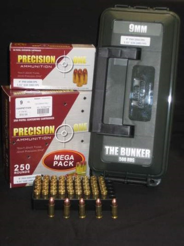 Precision One 9mm Ammunition REMAN Competition 124 Grain Full Metal Jacket Ammo Can 500 rounds