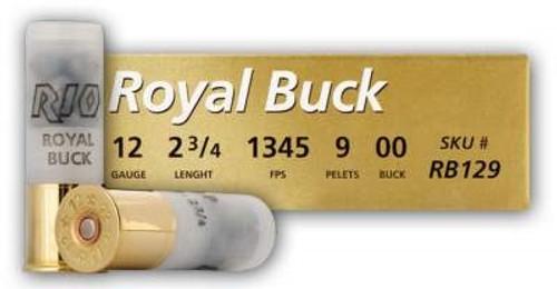 "Rio 12 Gauge Ammunition RB129 Royal Buck 2-3/4"" 1345 FPS 00 Buckshot 9 Pellet 5 rounds"