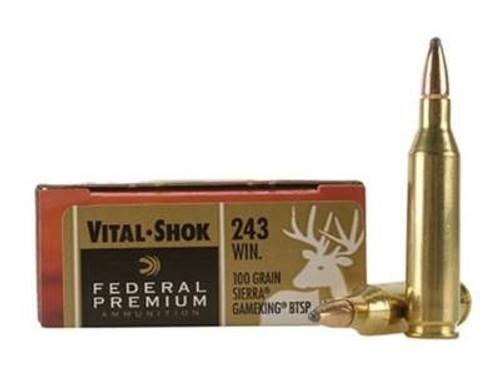 Federal Premium 243 Win P243C 100 gr Sierra Gameking BTSP 20 rounds