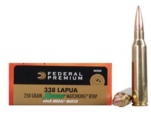 Federal 338 Lapua Mag Ammunition Gold Medal GM338LM 250 Grain Sierra Matchking Boat Tail Hollow Point 20 rounds
