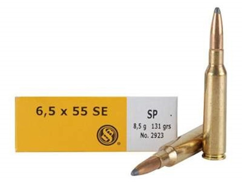 Sellier & Bellot Ammunition 6.5x55mm Swedish Mauser 131 Grain Soft Point SB6555A 20 Rounds