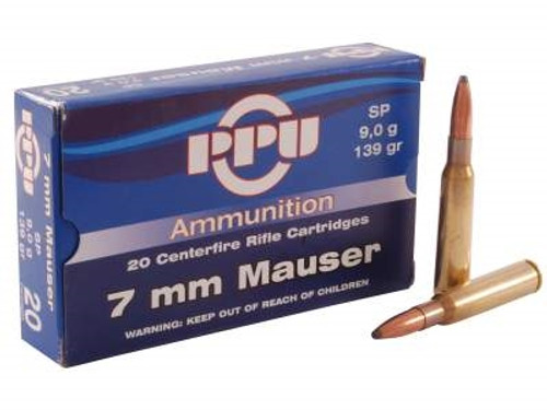 Prvi PPU 7mm Mauser Ammunition 7x57mm PP7 139 Grain Soft Point 20 Rounds