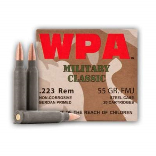 Wolf 223 Rem Ammunition Military Classic MC223FMJ55 55 Grain Full Metal Jacket Steel Cased Case of 500 Rounds