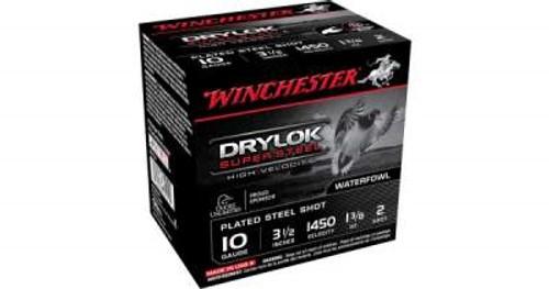 "Winchester 10 Gauge Ammunition SSH102 Drylok Super Steel 3-1/2""1-3/8oz  #2 Shot 1450fps 25 Rounds"