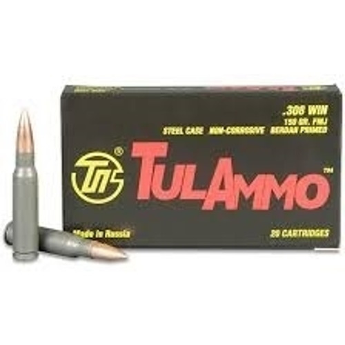Tula 308 Win Ammunition TA308150 150 Grain Full Metal Jacket Case of 500 Rounds