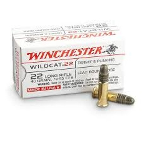 Winchester 22LR Ammunition Wildcat WW22LR 40 Grain Lead Round Nose Case of 5000 Rounds