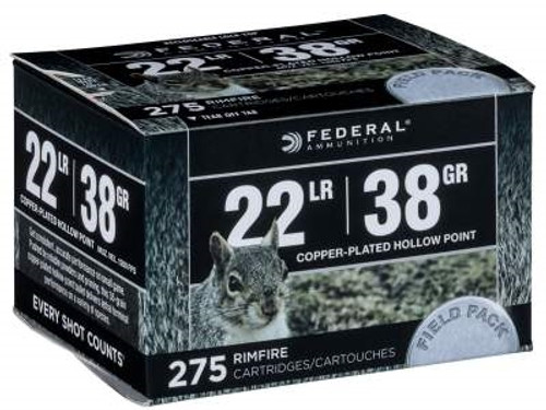 Federal 22 LR Ammunition Power-Shok Field Pack F730 38 Grain Copper Plated Hollow Point 275 Rounds