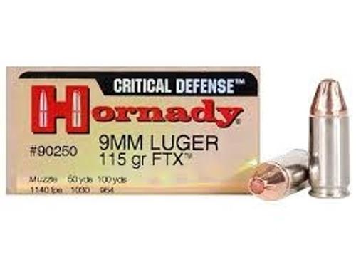 Hornady 9mm Critical Defense H90250 115 gr FTX 25 rounds