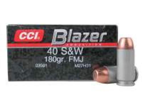 CCI 40 S&W Ammunition Blazer 3591 180 gr FMJ 50 rounds