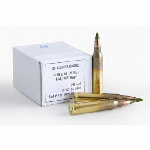 Prvi PPU 5.56x45mm NATO Ammunition PP56 M855 62 Grain Green Tip Steel Core Full Metal Jacket 20 Rounds
