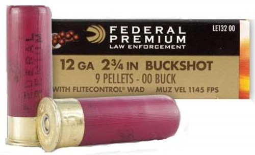 "Federal 12 Gauge Tactical LE13200 2-3/4"" Reduced Recoil 00 Buckshot 9 Pellets 50 rounds"