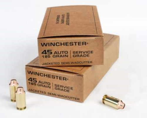 Winchester 45 Auto Ammunition Service Grade SG45SWC 185 Grain Jacketed Semi-Wadcutter 50 rounds