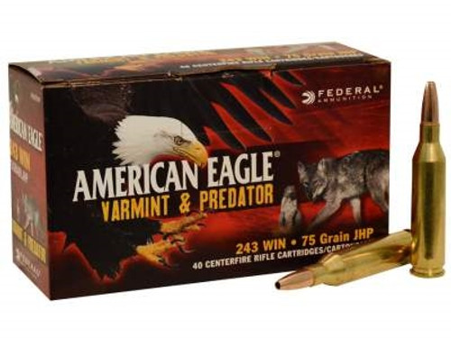 Federal 243 Win Ammunition American Eagle Value Pack AE24375VP 75 Grain Hollow Point 40 rounds