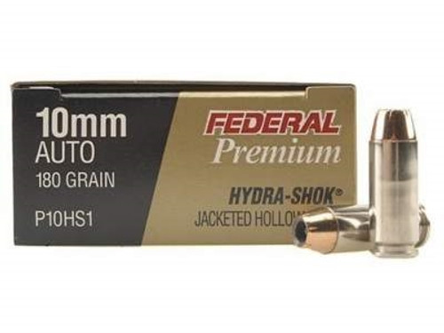 Federal 10mm Ammunition Hydra-Shok P10HS1 180 Grain Jacketed Hollow Point 20 rounds
