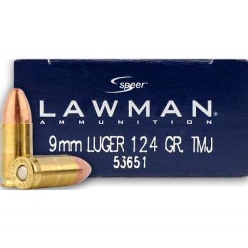 CCI 9mm Ammunition Speer Lawman CCI53651 124 Grain Total Metal Jacket 50 rounds