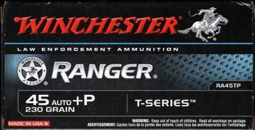Winchester 45 Auto Ammunition +P Ranger T-Series RA45TP 230 Grain Jacketed Hollow Point 50 rounds