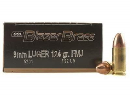 CCI 9mm Ammuntion Blazer Brass 5201 124 Grain Full Metal Jacket 50 Rounds