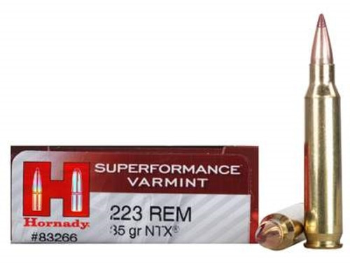 Hornady 223 Rem Ammunition Superformance H83266 35 Grain NTX 20 rounds