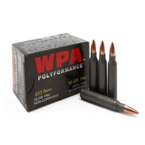Wolf 223 Rem Ammunition WPA Polyformance 55 Grain Full Metal Jacket Case of 500 Rounds