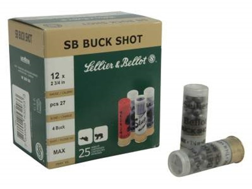 "Sellier & Bellot 12 Gauge Ammunition SB12BSD 2-3/4"" 4 Buckshot 27 Pellets 1185 fps 10 Rounds"