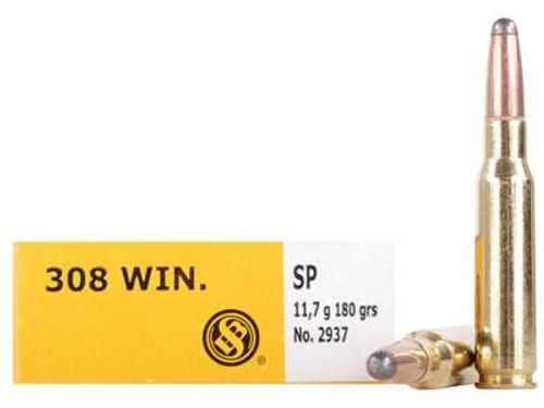 Sellier & Bellot Ammunition 308 Winchester 180 Grain Semi-Jacketed Soft Point SB308C 20 Rounds