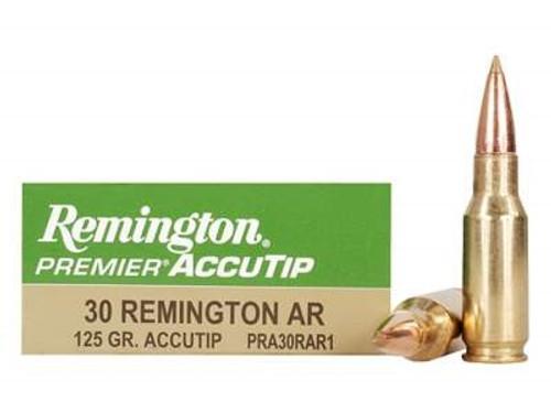 Remington 30 Rem AR Ammunition Premier PRA30RAR1 125 Grain AccuTip 20 rounds