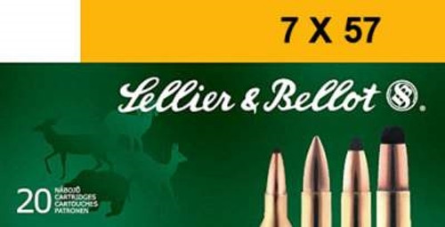 Sellier & Bellot 7X57mm Mauser Ammunition SB757A 140 Grain Full Metal Jacket 20 Rounds