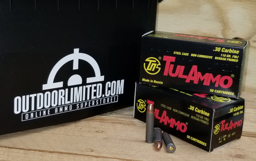 Tula 30 Carbine Ammunition TA301100 110 Grain Full Metal Jacket 50 rounds