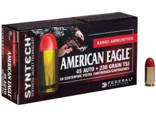 Federal 45 Auto American Eagle Syntec Ammunition AE45SJ1 230 Grain Synthetic Jacket 50 rounds