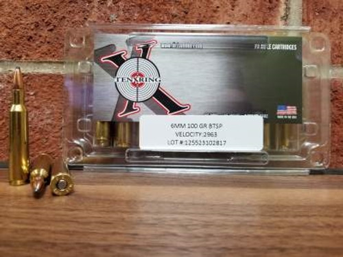 Ten Ring 6mm Ammunition 100 Grain Boat Tail Soft Point 2963FPS 20 rounds